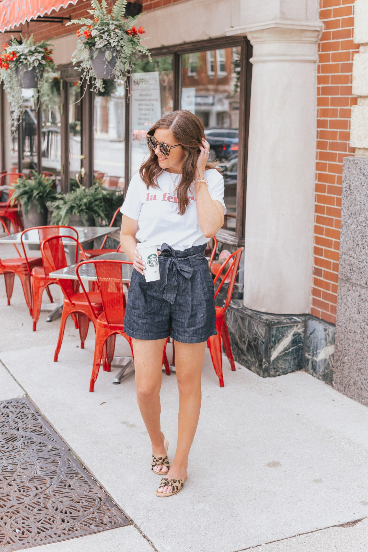 two ways to style paper bag shorts, high waisted shorts, how to dress up shorts, summer fashion, Target A New Day paper bag shorts