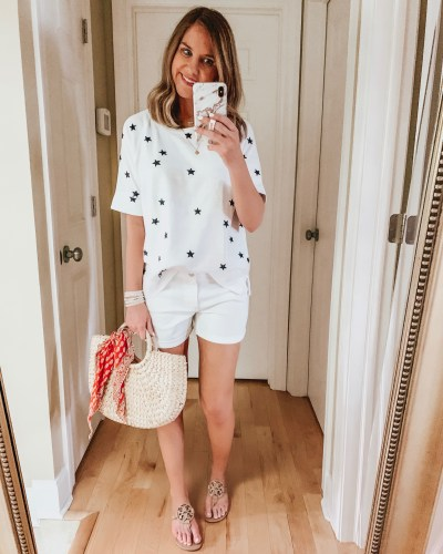 nine ways to style white shorts, forth of July outfit, star tee