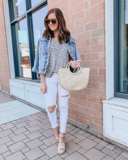 how to shop social media, leopard tee outfit, distressed white jeans, jean jacket, affordable wedges
