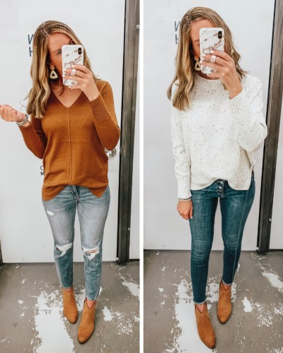 Old Navy fall fashion, fall sweaters, jean trends for 2019, joggers, leopard, the hottest color for fall 2019