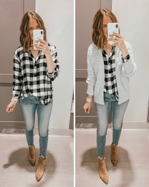 Target fall fashion preview 2019, BLACK AND WHITE BUFFALO PLAID TUNIC, MADEWELL DUPES AT TARGET