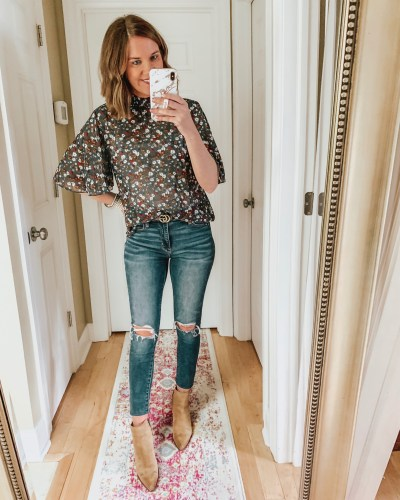 transitional fall outfits, floral blouse, Amazon fashion, suede, booties