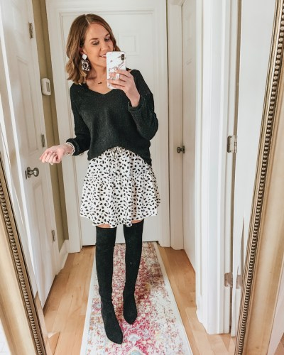 styling the Amazon mini skirt for fall, tiered skirt, over the knee boots, spotted skirt
