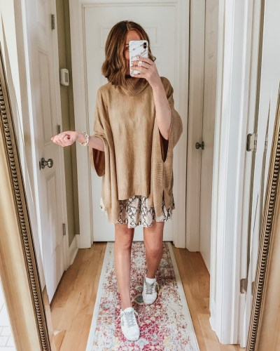 styling the Amazon mini skirt for fall, tiered skirt, poncho sweater, snakeskin print, white sneakers, Golden Goose dupes
