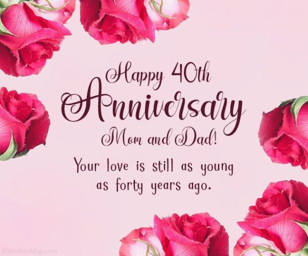 40th anniversary wishes for parents