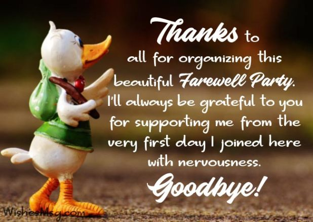 Goodbye Thank You Messages For Farewell Party