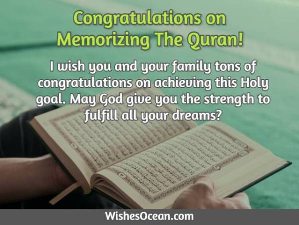 Congratulation Messages on Memorizing Quran
