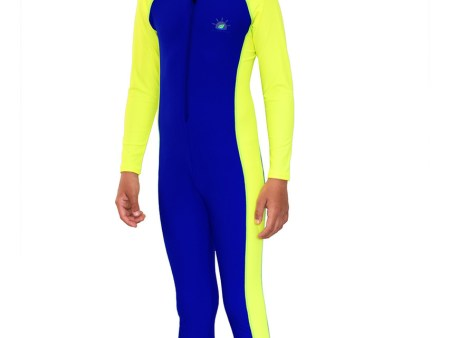 Boys Full Body Swimsuit Sun and UV Protection Blue Yellow
