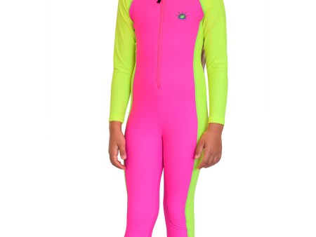 Girls Full Body Swimsuit with Sun, UV Protection Pink Yellow