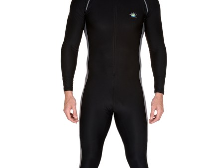 Mens Full Body Suit Sun Protection Swimwear in Black Silver