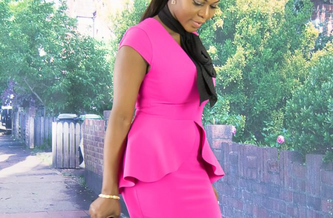 peplum midi dress