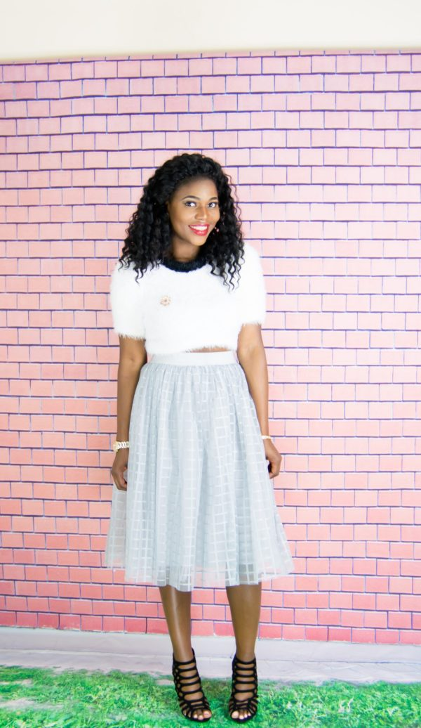 grid tulle midi skirt