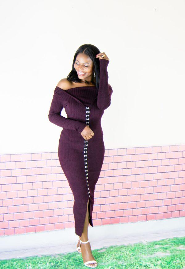 rib knit dress outfit