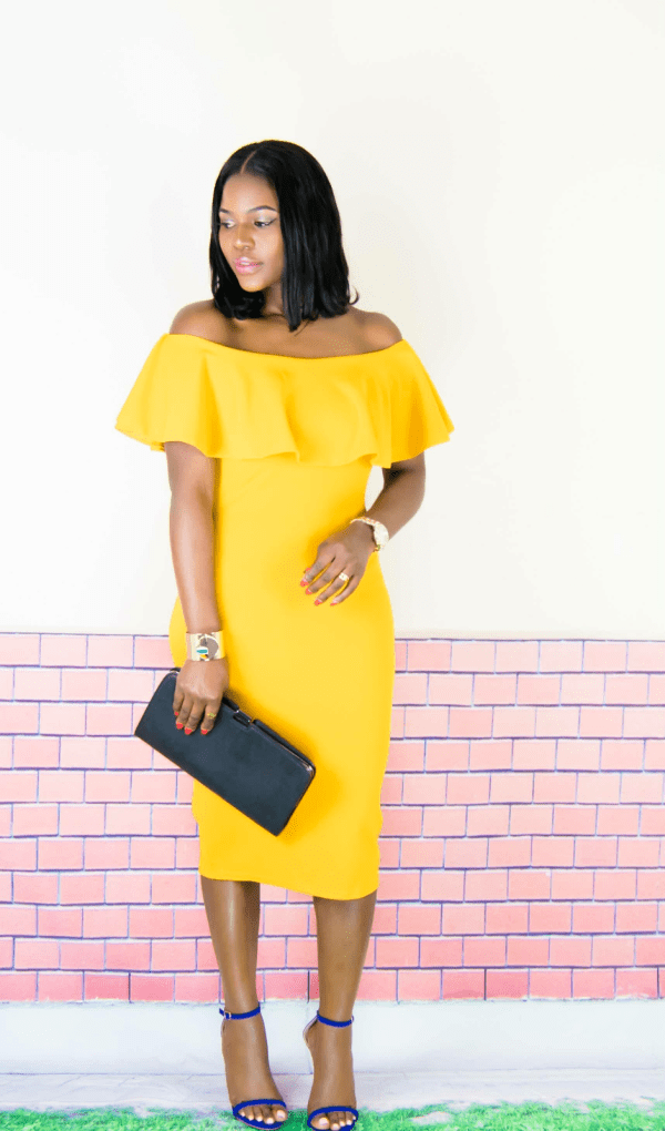 ruffle midi pencil dress