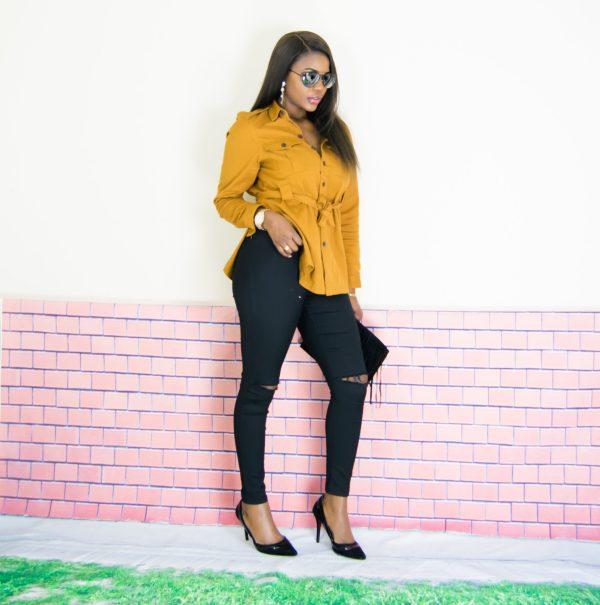 mustard shirt outfit
