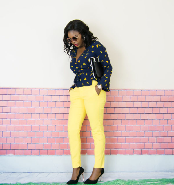 women warp front blouse