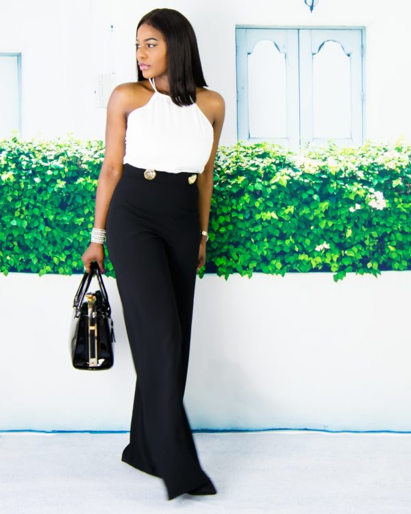 white and black women outfit