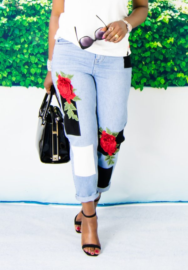 embroidered jeans outfit