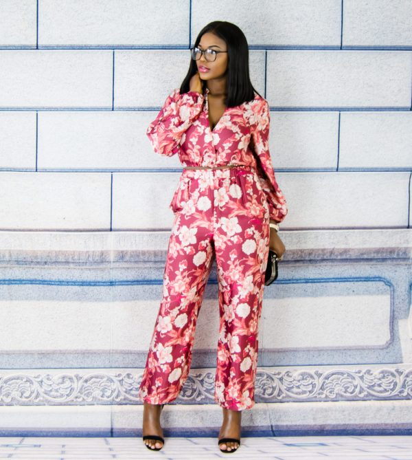 silk floral top and trousers co-ord