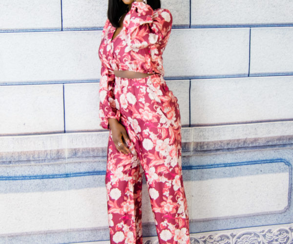 silk floral trousers