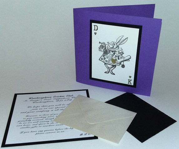 Bespoke handmade Alice In Wonderland Wedding Invitation
