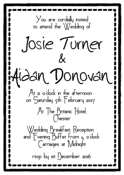 A6 printed wedding invitation insert now available from our shop