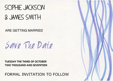 These beautiful printed Save The Date cards are available on high quality paper or as magnets.