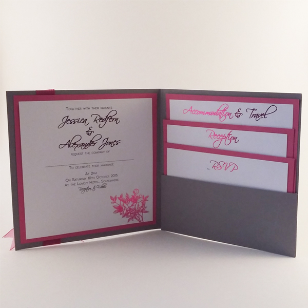 Floral pocketfold wedding invitations now available from our online shop.