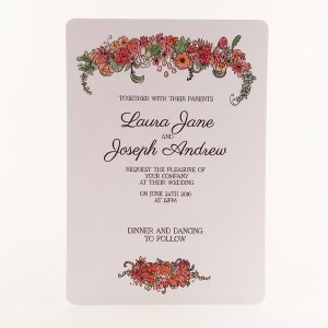 Printed floral wedding invitation