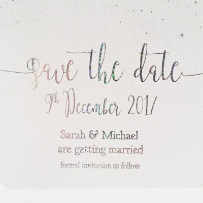 Foiled star save the date card