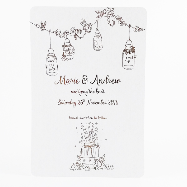 Foiled floral save the date card
