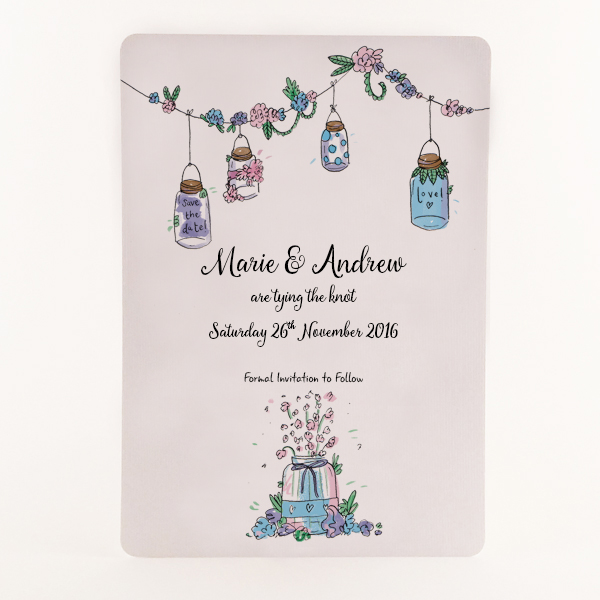 Printed A6 luxury hand painted wedding stationery.