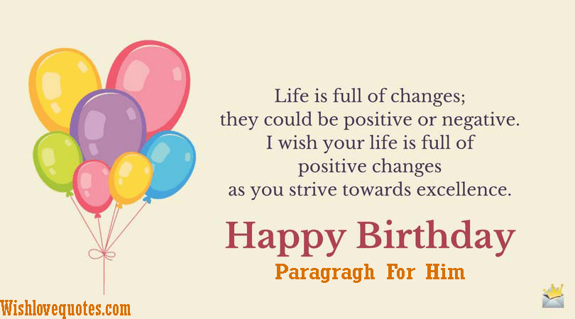 Romantic Happy Birthday Paragraph For Him Wish Love Quotes