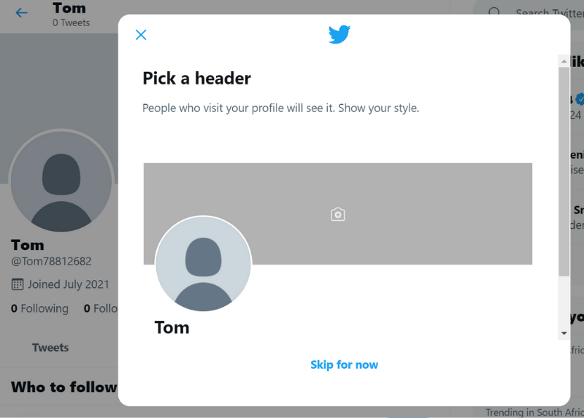 Twitter upload header