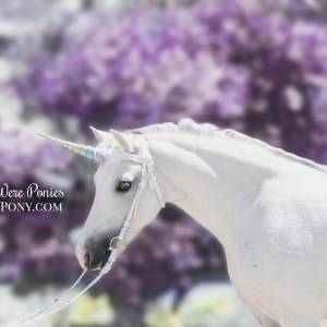 WishPony White Leather Rainbow Unicorn Browband for Horses & Ponies