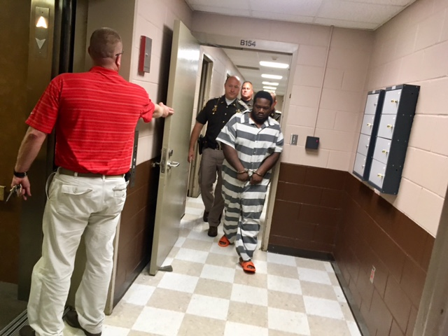 Derrick L. Wandrick is led to his arraignment inside Kosciusko County Court on Friday, Oct. 27, 2017. (Provided Photo_WANE)_748658