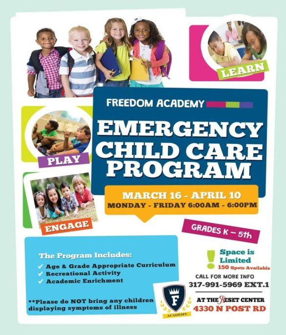 Emergency Childcare Program Flyer