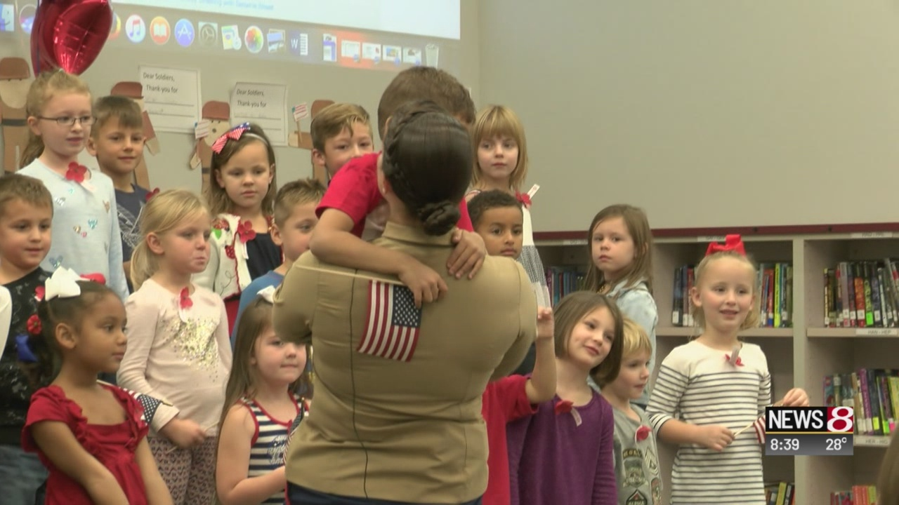 Marine surprises her son at Noblesville school