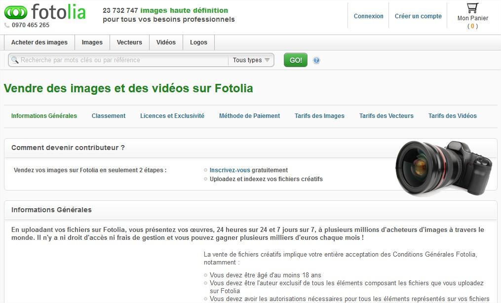 Vendre des photos, des vecteurs et des vidéos libres de droits sur Fotolia – Mozilla Firefox