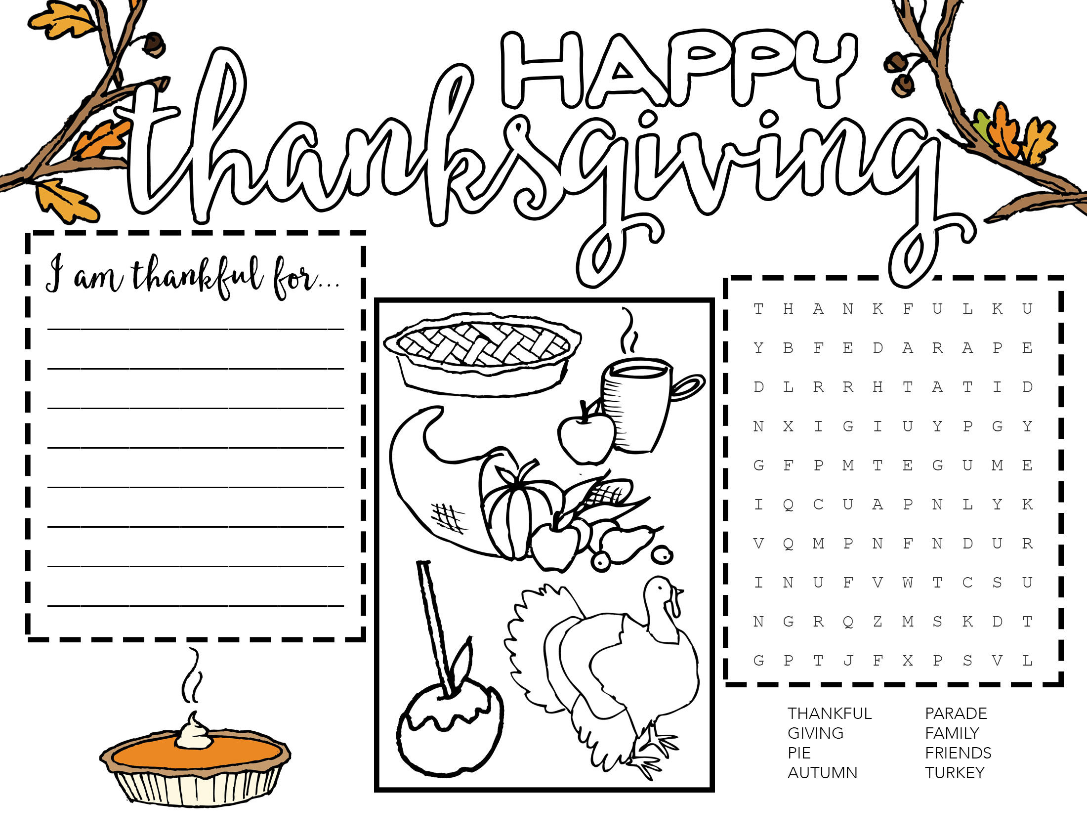 Free Printable Thanksgiving Placemat