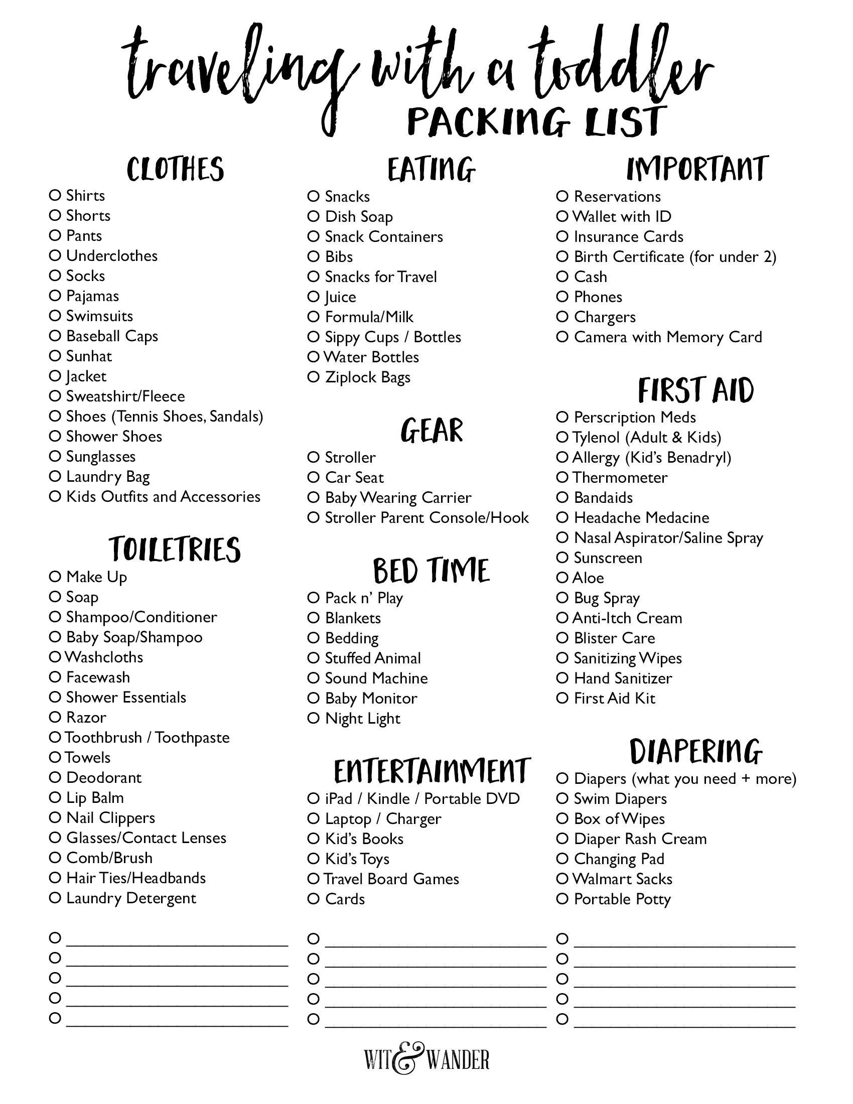 Packing List For Traveling With A Toddler