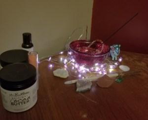 bedside altar, sex toys, crystals, witchcraft