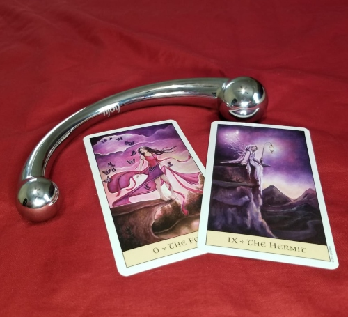 Pure Wand sitting next to The Fool and The Hermit card from The Crystal Visions Deck.