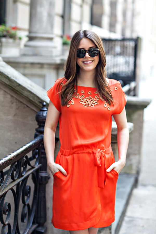outfit: tangerine dress