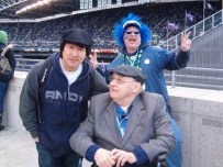 Sam and His client Bob at a Hawks game.