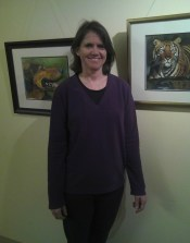 Linda at her first art exhibit