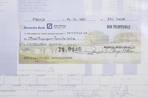 Hannibal's movie bank cheque - Donnini Coltelleria, Via G. Lanza 70 - 50136 Florence