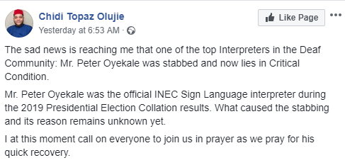 Photos: INEC results interpreter allegedly stabbed by unknown persons