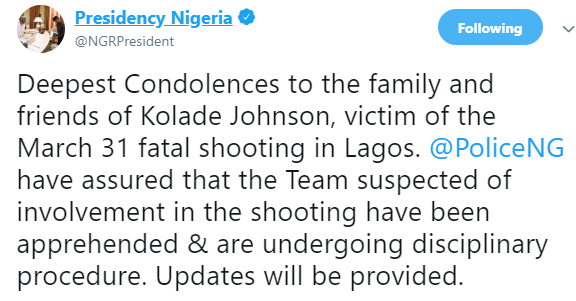 #EndSARS: Presidency reacts to the killing of football fan, Kolade Johnson, by SARS officers