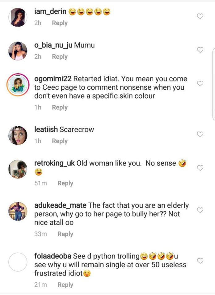 Cee-C savagely blasts lady who accused her of skin bleaching